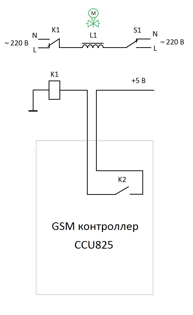 Принципиальная схема управления электромагнитным клапаном